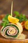Crepe Roll Filled with Ham and Spinach — Stock Photo