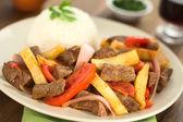 Peruvian Dish Called Lomo Saltado — Stock Photo