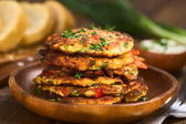 Zucchini and Bell Pepper Fritter — Stock Photo