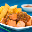 German Fast Food Called Currywurst — Stock Photo