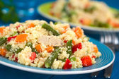 Couscous with Chicken, Beans, Carrot and Bell Pepper — Stock Photo
