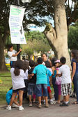 Informing About Water Usage in Miraflores, Lima, Peru — Stock Photo