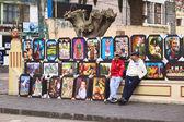Selling Paintings in Banos, Ecuador — Stock Photo