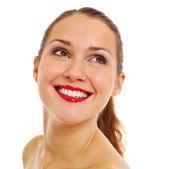 Portret bardzo uśmiechnięte dziewczyny — Zdjęcie stockowe
