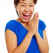 Cheerful clapping hands teenage girl — Stock Photo