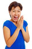 Cheerful clapping hands teenage girl — Stock Photo