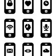 Vector phone with icons — Stock Vector #13548994