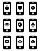 Vektör telefon simgeleri — Stok Vektör
