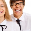 Funny smiling teen couple — Stock Photo