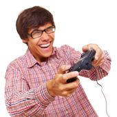 Happy teen play video game — ストック写真