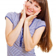 Happy smiling surprised girl on white — Stock Photo