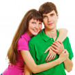 Young casual couple hugs — Stock Photo