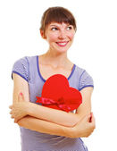 Lovely young woman with heart-shaped box — Stockfoto