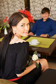 Couple on date in cafe — Stock Photo