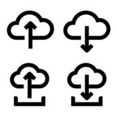 Cloud upload and download icon set — Stock Vector