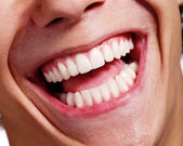 Laughing mouth closeup — Stock Photo
