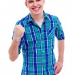 Cheerful guy with raised fist — Stock Photo