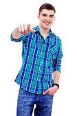 Guy pointing at camera — Stock Photo