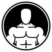 Bodybuilder symbol in black circle — Stock Vector
