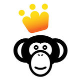 VIP monkey icon — Stock Vector