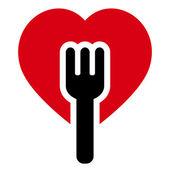 Fork heart tree — Stockvektor