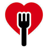 Fork heart tree — Vector de stock