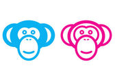 Male and female monkeys icon — Stock Vector