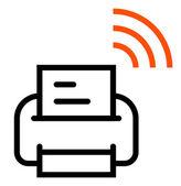 Stampante con wifi icona — Vettoriale Stock