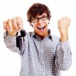 Stock Photo: Happy student with car keys closeup