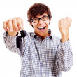 Happy student with car keys closeup — Stock Photo