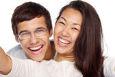 Couple taking selfie closeup — Stock Photo