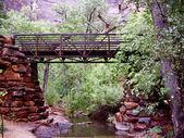 Stone and metal bridge at Zion — Stock Photo