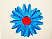 Bold Blue Flower on white wall — Stock Photo