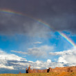 Rain and Rainbow at Monument Valley — Stock Photo
