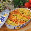 Stock Photo: Casserole of pastwith zucchini and tomato with cheese