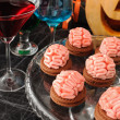 Cookies with marzipan brains for Halloween — Stock Photo