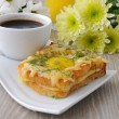 Toast with egg and cheese with dill - Stock Photo