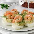 Stock Photo: Eggs stuffed with spicy shrimp