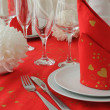 Red and white style tableware — Stock Photo