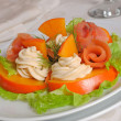 Stock Photo: Salmon salad with persimmon and cream cheese