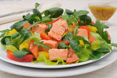Vegetable salad with salmon — Stock Photo
