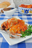 Stuffed cabbage stewed in tomato gravy — Stock Photo
