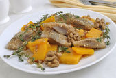 Herring in breadcrumbs with pumpkin — Stock Photo