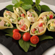 Stock Photo: Seshells paststuffed with vegetables and ham