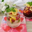 Stock Photo: Fresh homemade lemonade with mint and raspberries