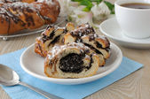 Roll with poppy seeds — Stock Photo