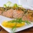Stock Photo: Baked salmon with spicy crust