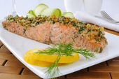 Baked salmon with a spicy crust — Stock Photo