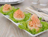 Eggs stuffed with salmon pate — Stock Photo