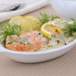 Stock Photo: Salmon with cream and lemon sauce